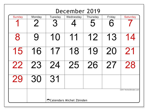 December 2019 Calendar, 62SS. Free printable bullet journal.
