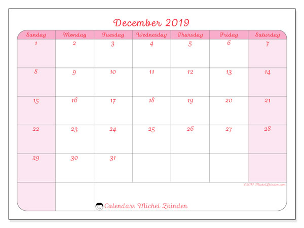 December 2019 Calendar, 63SS. Free calendar to print.