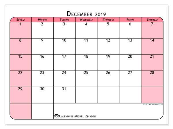 December 2019 Calendar, 64SS. Calendar for the month to print free.