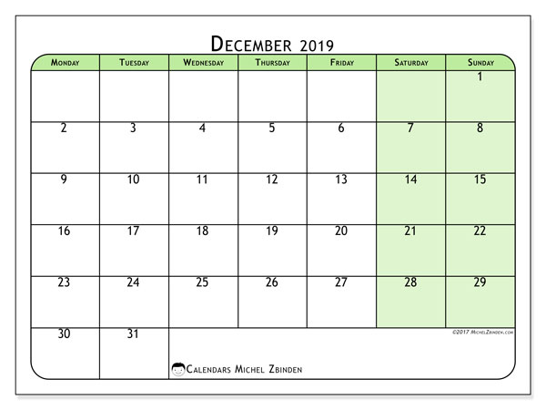 December 2019 Calendar, 65MS. Calendar to print free.
