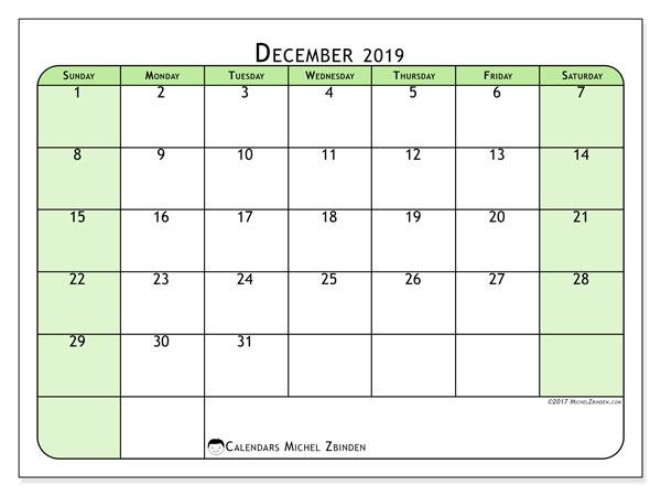 December 2019 Calendar, 65SS. Free calendar to print.