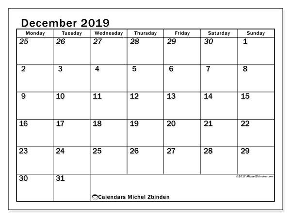 Calendar  December 2019, 66MS