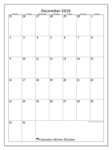 Calendar  December 2019, 68MS