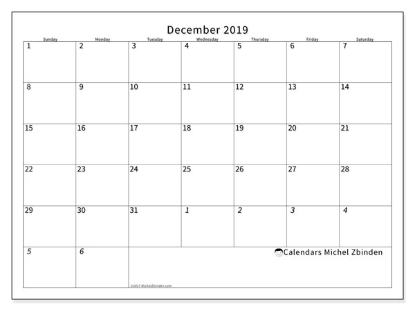 December 2019 Calendar, 70SS. Monthly calendar to print free.