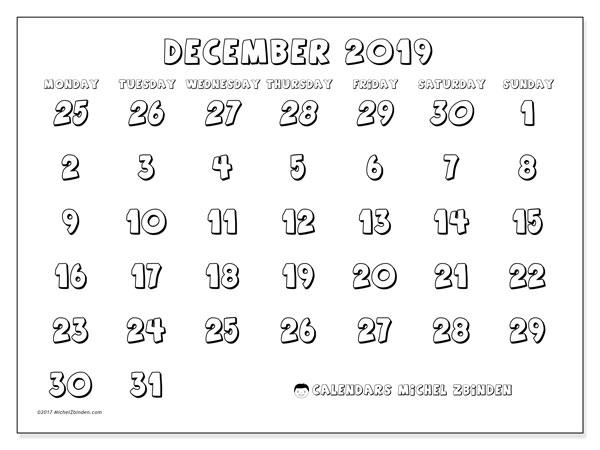 Calendar  December 2019, 71MS
