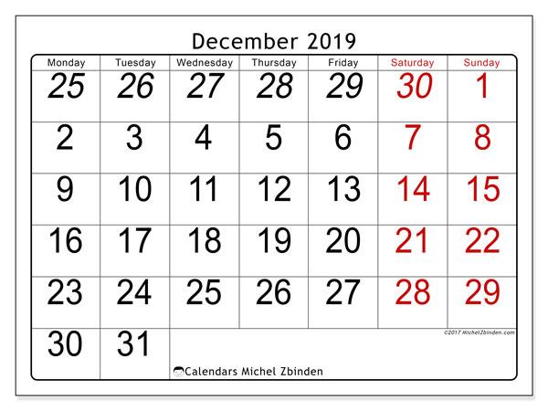 Calendar  December 2019, 72MS