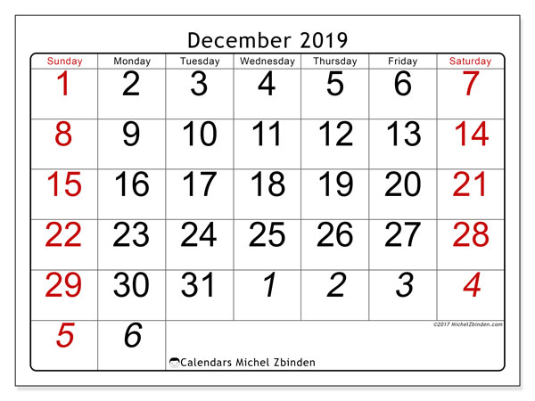 graphic about Printable Monthly Calendar Dec named December 2019 Calendar (72SS) - Michel Zbinden EN