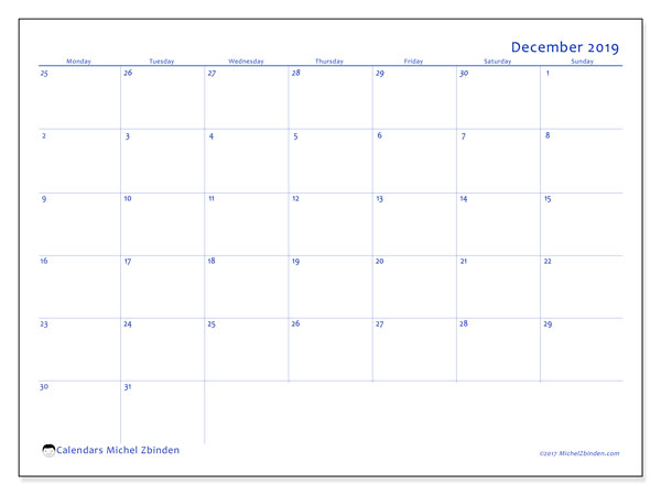 December 2019 Calendar, 73MS. Monthly calendar to print free.