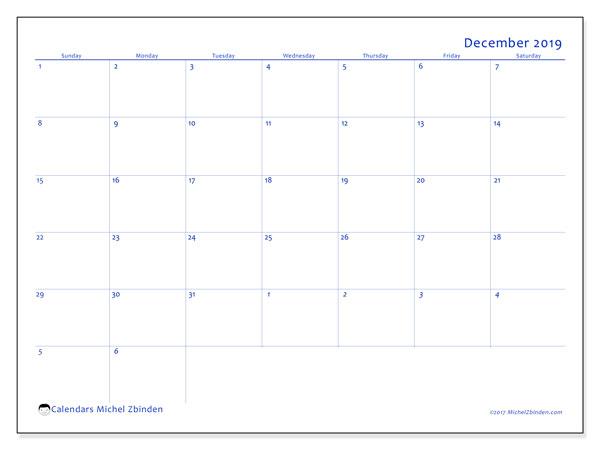 December 2019 Calendar, 73SS. Free printable monthly calendar.