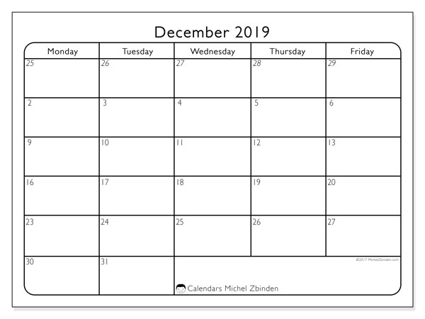 December 2019 Calendar, 74SS. Monthly planner to print free.