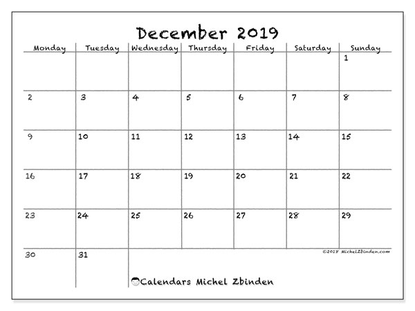 Calendar  December 2019, 77MS