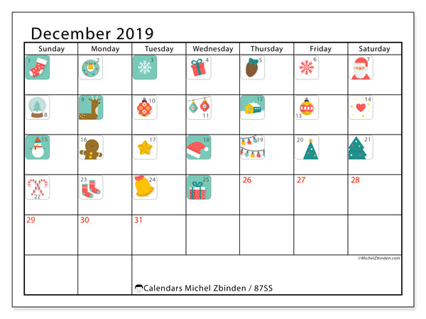 December 2019 Calendar, 87SS. Advent calendar. Free printable planner.