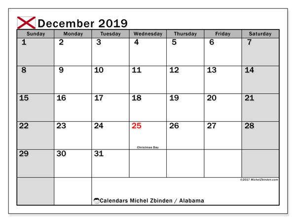 December 2019 Calendar, with the holidays of Alabama. Holidays calendar to print free.