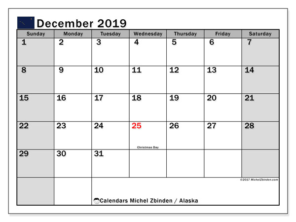 December 2019 Calendar, with the holidays of Alaska. Holidays calendar to print free.