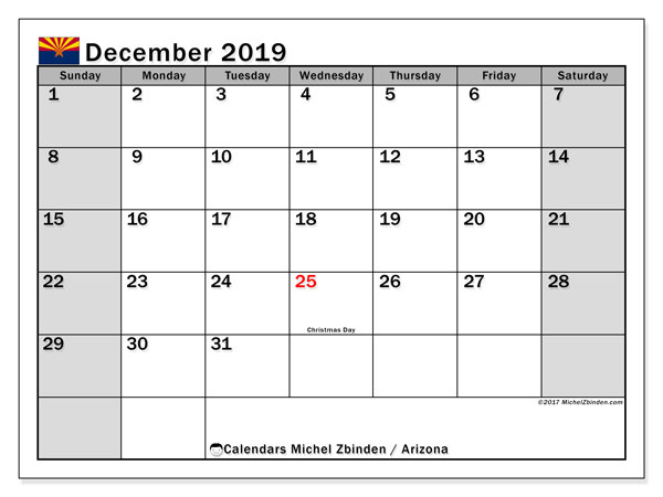December 2019 Calendar, with the holidays of Arizona. Free printable calendar with public holidays.
