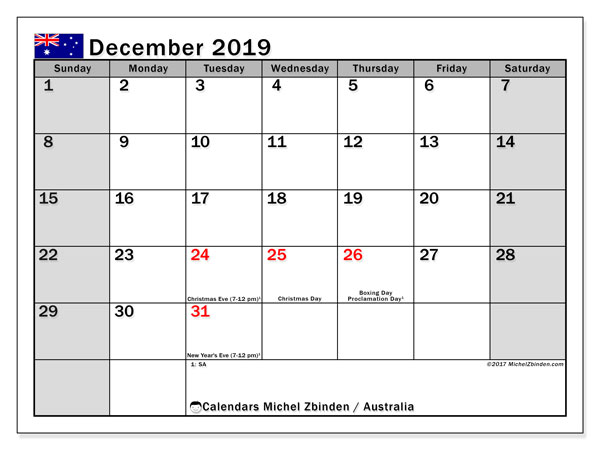 Calendar December 2019, with the holidays of Australia. Monthly calendar to print free.