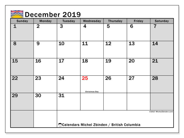 December 2019 Calendar, with the holidays of British Columbia. Free printable calendar with public holidays.
