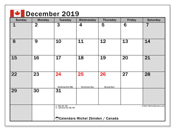 December 2019 Calendar, with the holidays of Canada. Holidays calendar to print free.
