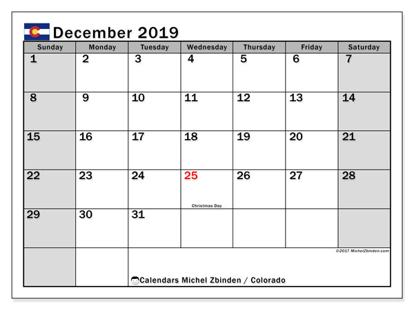 December 2019 Calendar, with the holidays of Colorado. Holidays calendar to print free.