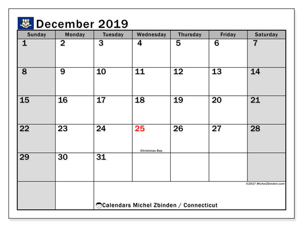 December 2019 Calendar, with the holidays of Connecticut. Free printable calendar with public holidays.