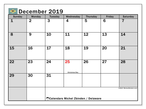 December 2019 Calendar, with the holidays of Delaware. Free printable calendar with public holidays.