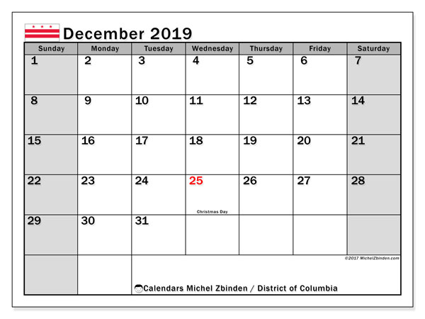 December 2019 Calendar, with the District of Columbia holidays. Holidays calendar to print free.
