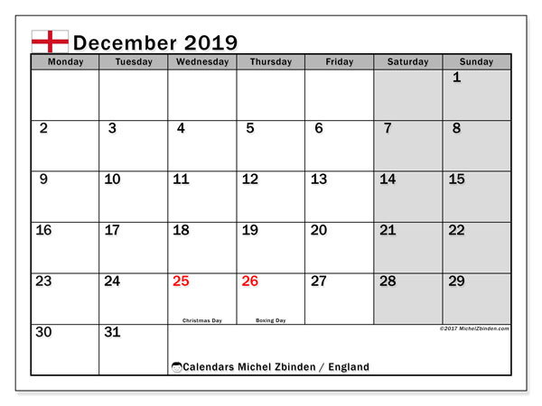 December 2019 Calendar, with the holidays of England. Free printable calendar with public holidays.