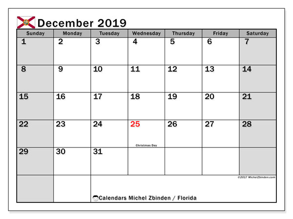 December 2019 Calendar, with the holidays of Florida. Free printable calendar with public holidays.