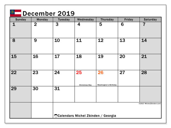 December 2019 Calendar, with the holidays of Georgia. Holidays calendar to print free.
