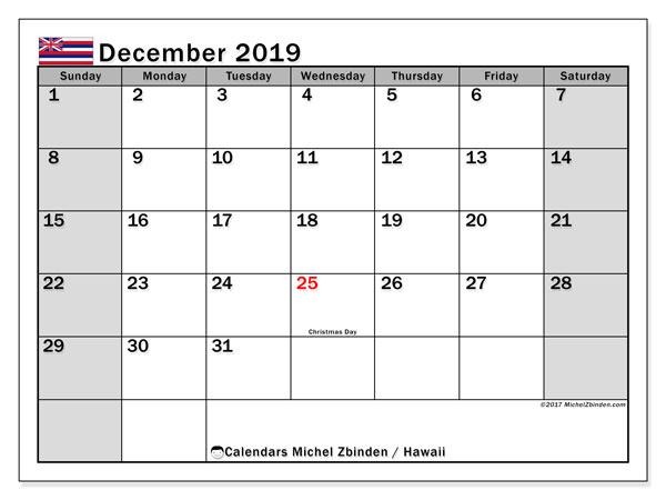 December 2019 Calendar, with the Hawaii holidays. Holidays calendar to print free.