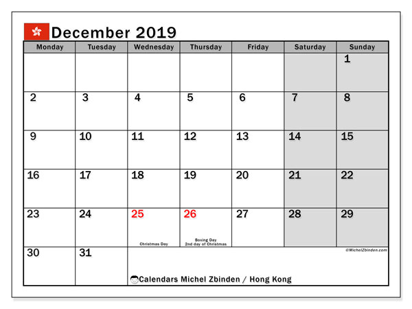 December 2019 Calendar, with the holidays of Hong Kong. Holidays calendar to print free.