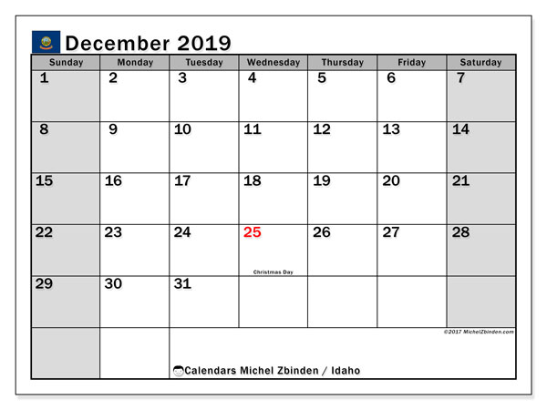 December 2019 Calendar, with the holidays of Idaho. Free printable calendar with public holidays.