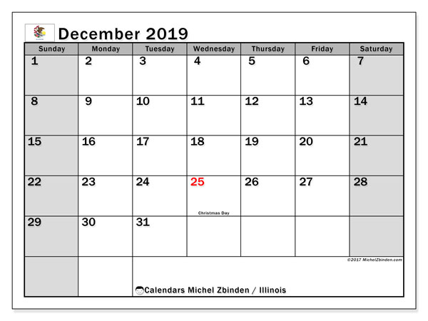December 2019 Calendar, with the holidays of Illinois. Holidays calendar to print free.
