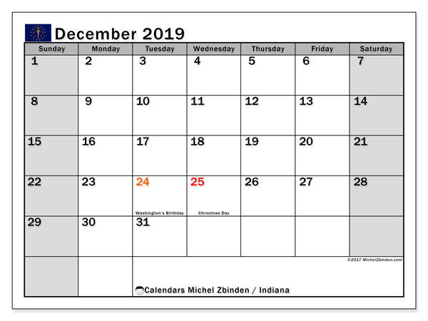 December 2019 Calendar, with the holidays of Indiana. Holidays calendar to print free.