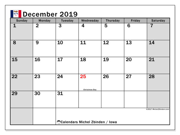 December 2019 Calendar, with the holidays of Iowa. Holidays calendar to print free.