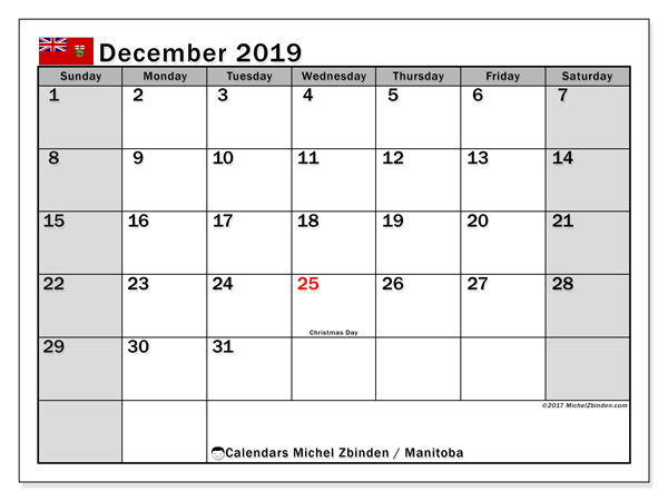 December 2019 Calendar, with the holidays of Manitoba. Free printable calendar with public holidays.