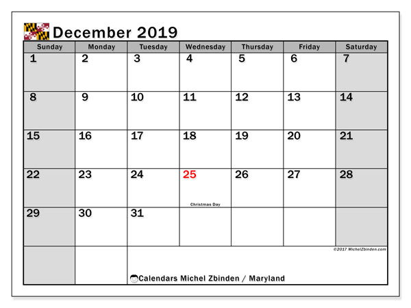 December 2019 Calendar, with the holidays of Maryland. Free printable calendar with public holidays.