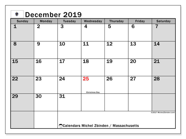 December 2019 Calendar, with the holidays of Massachusetts. Free printable calendar with public holidays.