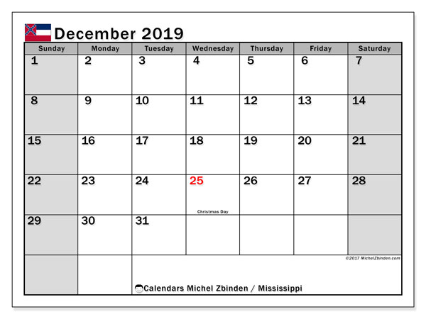 December 2019 Calendar, with the Mississippi holidays. Holidays calendar to print free.