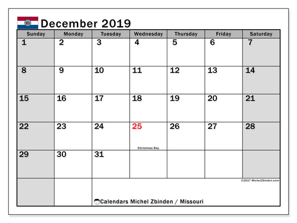 December 2019 Calendar, with the holidays of Missouri. Free printable calendar with public holidays.