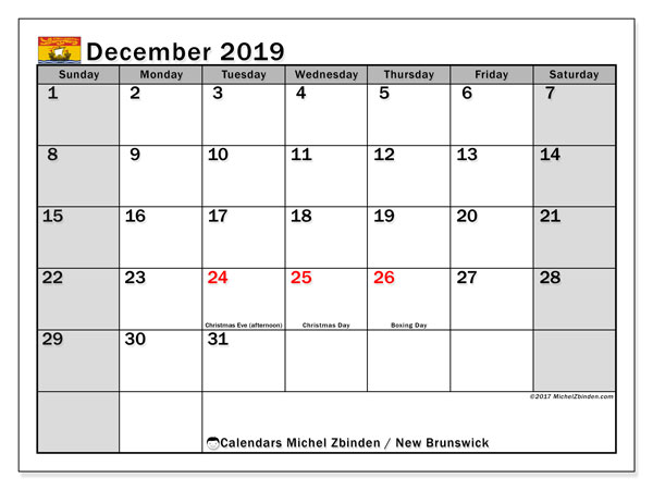 December 2019 Calendar, with the holidays of New Brunswick. Free printable calendar with public holidays.