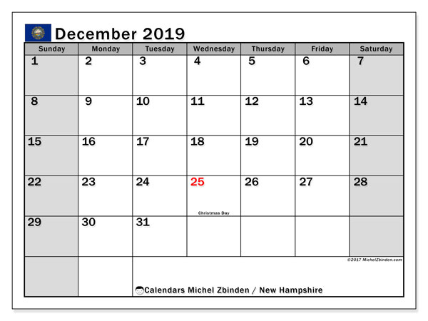 December 2019 Calendar, with the holidays of New Hampshire. Free printable calendar with public holidays.