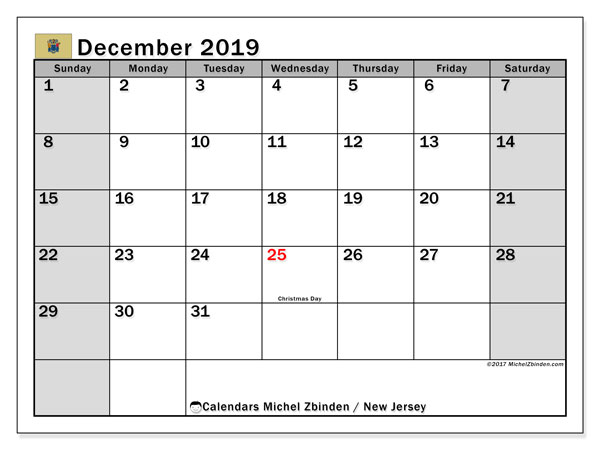 December 2019 Calendar, with the holidays of New Jersey. Holidays calendar to print free.
