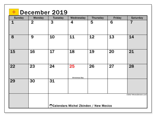 December 2019 Calendar, with the holidays of New Mexico. Free printable calendar with public holidays.
