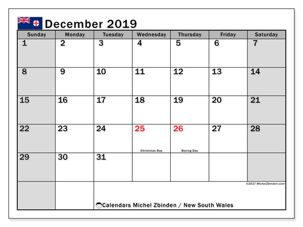 Calendar December 2019, with the holidays of New South Wales. Free printable planner.