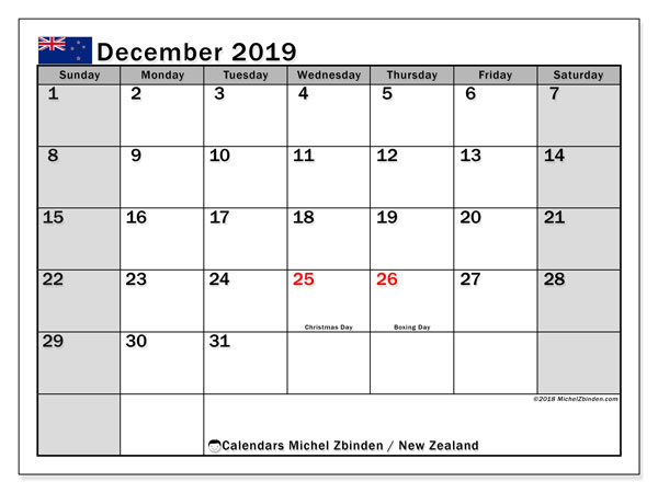 Calendar December 2019, with the holidays of New Zealand. Free planner to print.