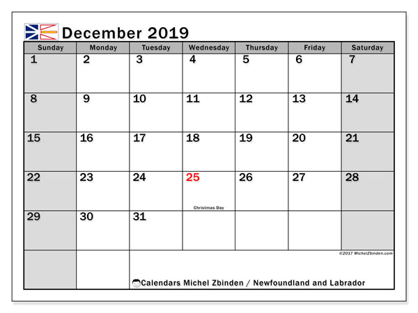 Calendar December 2019, with the holidays of Newfoundland and Labrador. Free printable planner.