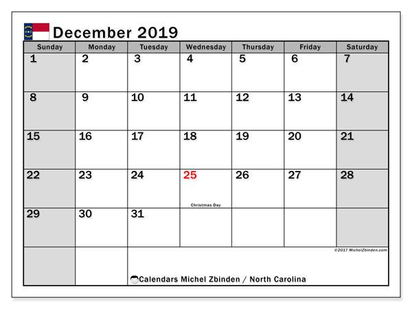 December 2019 Calendar, with the holidays of North Carolina. Holidays calendar to print free.