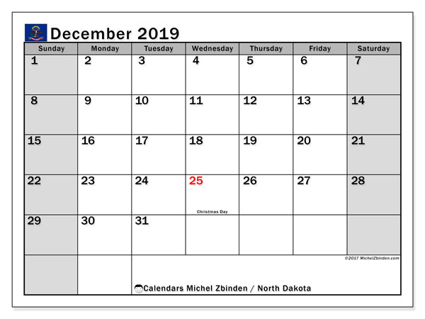December 2019 Calendar, with the holidays of North Dakota. Free printable calendar with public holidays.