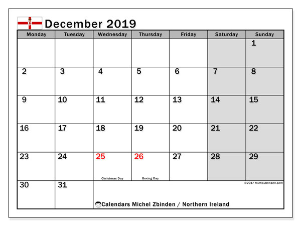 December 2019 Calendar, with the holidays of Northern Ireland. Free printable calendar with public holidays.